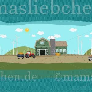 """Jersey-Stoff Bauernhof Trecker Traktor Bauer """"Farm Holidays #teal"""" (1 Panel 0,65m) türkis für Kinder Jungen Mädc Bild 2"""