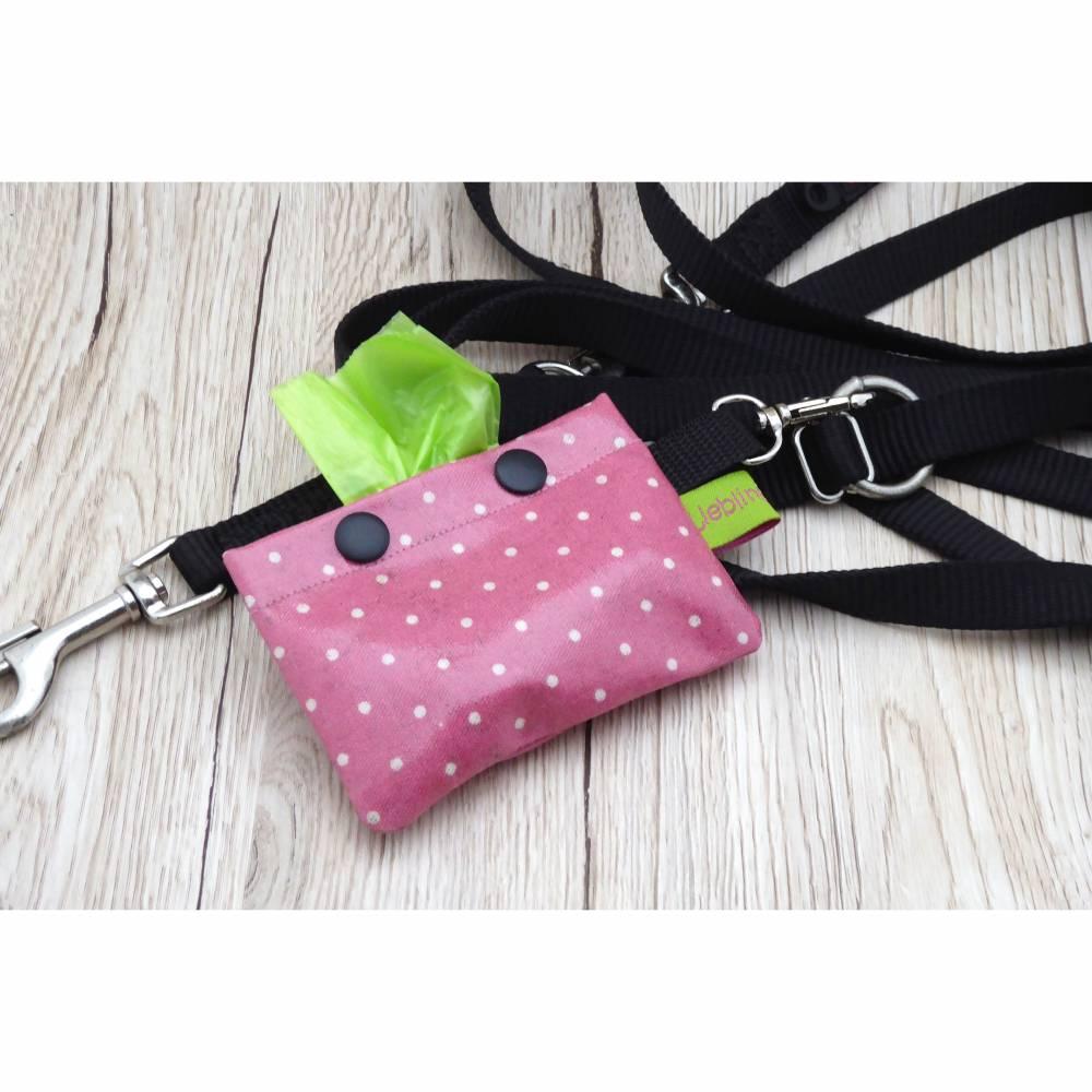 Hundekotbeutelspender aus Wachstuch, Kotbeutelspender, Schietbüddelspender, Hundetütentasche, Polka Dots, rosa Bild 1