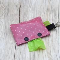 Hundekotbeutelspender aus Wachstuch, Kotbeutelspender, Schietbüddelspender, Hundetütentasche, Polka Dots, rosa Bild 3