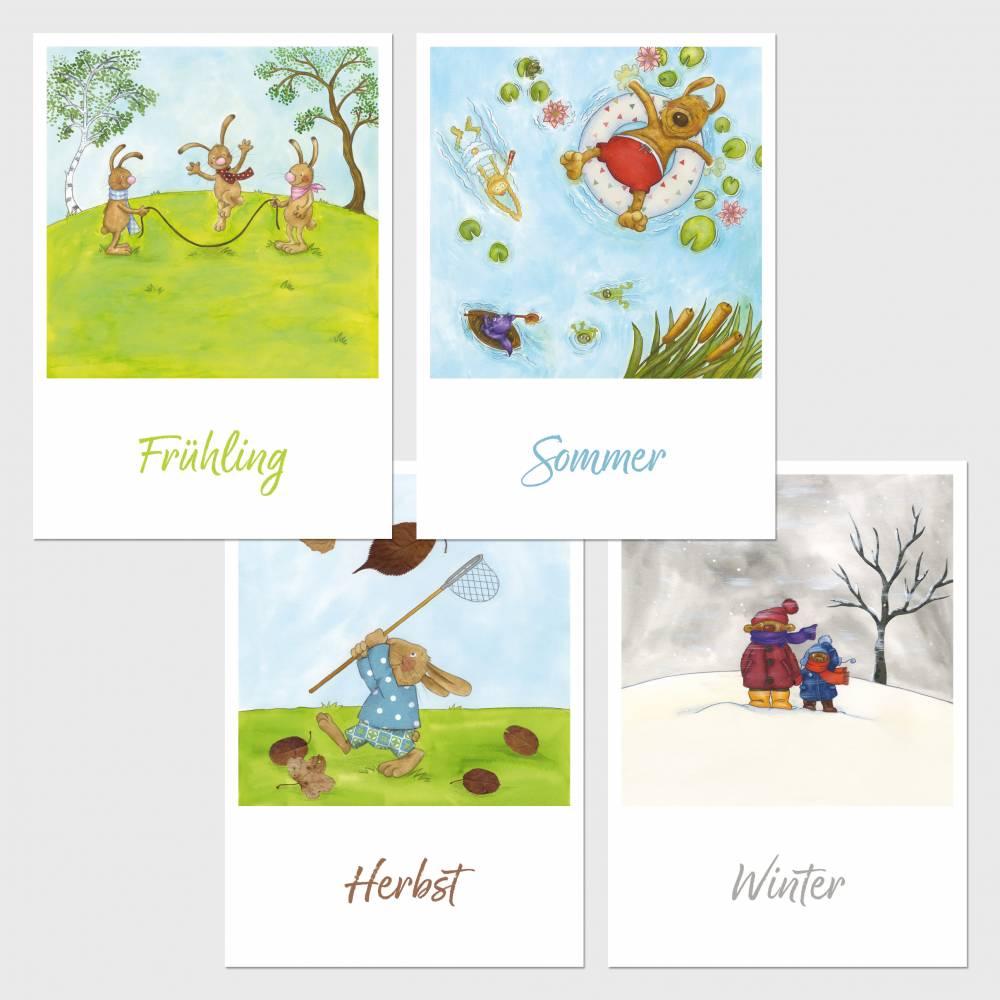 4x Postkarten-Set · Jahreszeiten · Frühling Sommer Herbst Winter · A6 · Aquarell · Buntstift · klimaneutraler Druck Bild 1