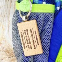 Schlüsselanhänger, personalisiert mit den Kontaktdaten der Eltern, für Schulkinder Bild 2