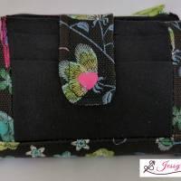 Schönes, kleines, handliches Portmonee/Portemonnaie/Geldbörse/Geldbeutel aus Kunstleder und Baumwolle mit Kolibri Bild 1