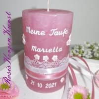 Personalisierte TISCHKERZE * Gastgeschenke-Kerzen* Patenkerze * Rustik * Rosa * Taufe * Kommunion * Geburt * Babyparty Bild 1