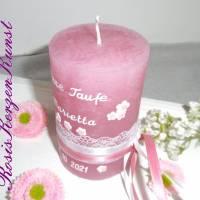 Personalisierte TISCHKERZE * Gastgeschenke-Kerzen* Patenkerze * Rustik * Rosa * Taufe * Kommunion * Geburt * Babyparty Bild 2