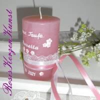 Personalisierte TISCHKERZE * Gastgeschenke-Kerzen* Patenkerze * Rustik * Rosa * Taufe * Kommunion * Geburt * Babyparty Bild 3