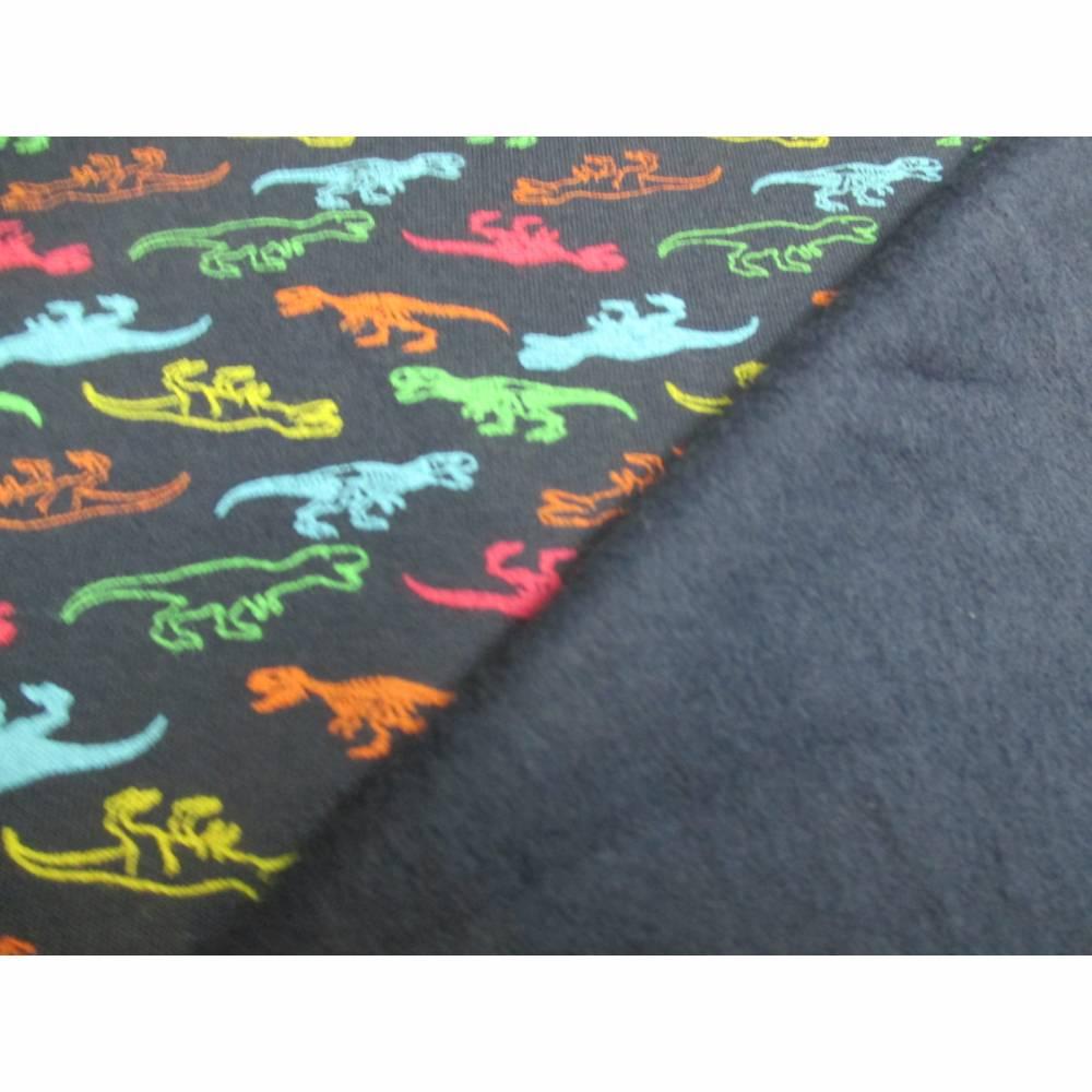 French Terry, Sweat angeraut kleine T-Rex - Dinosaurier, marine Oeko-Tex Standard 100(1m/17,-€)  Bild 1