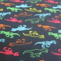 French Terry, Sweat angeraut kleine T-Rex - Dinosaurier, marine Oeko-Tex Standard 100(1m/17,-€)  Bild 2
