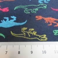 French Terry, Sweat angeraut kleine T-Rex - Dinosaurier, marine Oeko-Tex Standard 100(1m/17,-€)  Bild 3