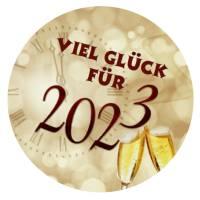 24 Sticker Etiketten Aufkleber, rund D= 4 cm, Viel Glück für 2022, Neujahr, Silvester Bild 1