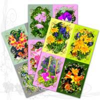 Digitales Kartenset, *Garden017-Set 1b*, DIY Grafik-Vorlagen für 12 Karten auf 3 DIN A4-Bögen, randloser Druck Bild 1