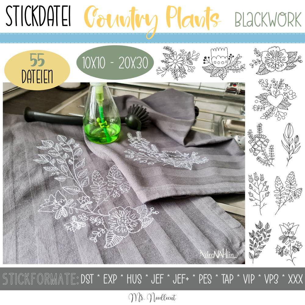 """Digitale Stickdatei Country Plants Blackwork für den 10x10 - 20x30 cm (4x4 - 8x12"""") Stickrahmen Bild 1"""