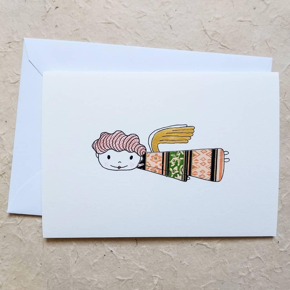süße Engelkarte, handgezeichnet, collagiert, mit Umschlag, DinA 6 Bild 1