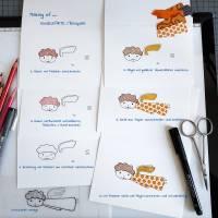 süße Engelkarte, handgezeichnet, collagiert, mit Umschlag, DinA 6 Bild 2