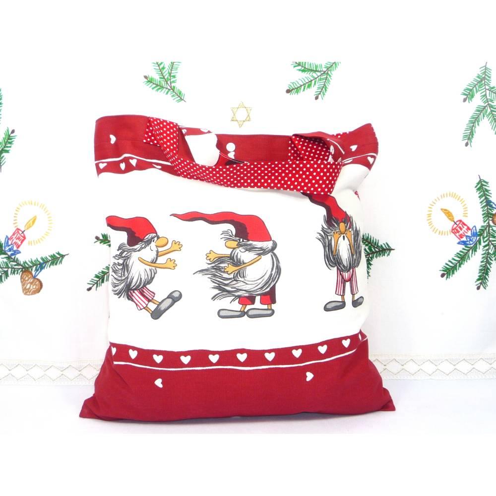 winterlicher Einkaufsbeutel, Stofftasche, Baumwollbeutel faltbar *Lustige Wichtel* Bild 1