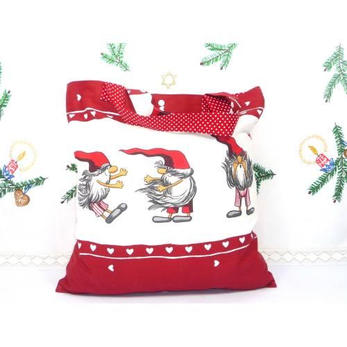 winterlicher Einkaufsbeutel, Stofftasche, Baumwollbeutel faltbar *Lustige Wichtel*
