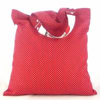 winterlicher Einkaufsbeutel, Stofftasche, Baumwollbeutel faltbar *Lustige Wichtel* Bild 2