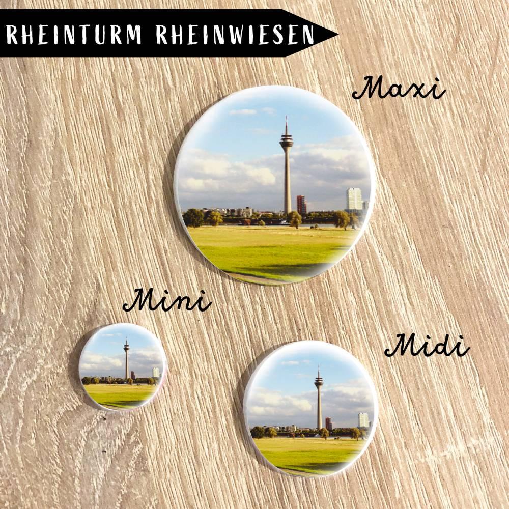 Rheinturm mit Rheinwiesen Magnet Bild 1