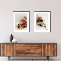 """""""Stadt mit Spiegelung"""" 24 x 32 cm Acrylbild auf Künstlerpapier Bild 7"""