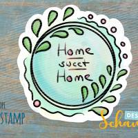 Freebie Digistamp Home Sweet Home png clipart coloriert Bild 1