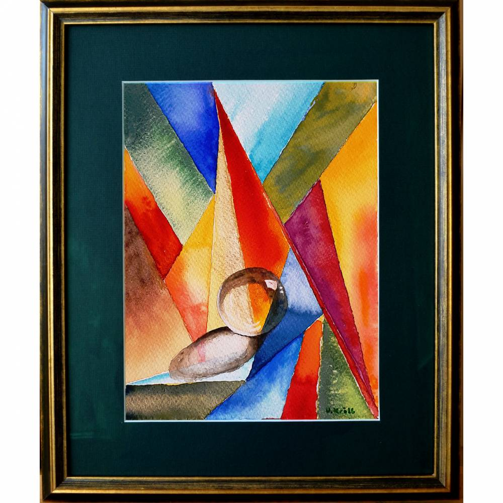 Farbige Formen - Original Aquarellmalerei, gerahmtes Unikat Bild 1