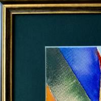 Farbige Formen - Original Aquarellmalerei, gerahmtes Unikat Bild 2