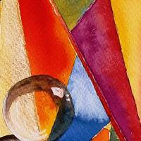 Farbige Formen - Original Aquarellmalerei, gerahmtes Unikat Bild 4