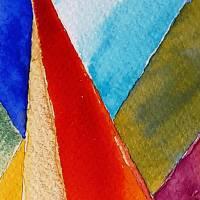 Farbige Formen - Original Aquarellmalerei, gerahmtes Unikat Bild 6
