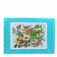 Crazy Fische rush hour maritim Grußkarte Sternzeichen Fisch retro stil Bild 1