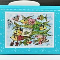 Crazy Fische rush hour maritim Grußkarte Sternzeichen Fisch retro stil Bild 2