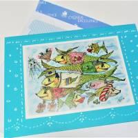 Crazy Fische rush hour maritim Grußkarte Sternzeichen Fisch retro stil Bild 3