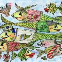 Crazy Fische rush hour maritim Grußkarte Sternzeichen Fisch retro stil Bild 4