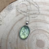 """Kette """"Perlengirlande"""", 25 x 18 mm Cabochonkette mit Motiv, grüngelb metallic, irisierend, handbemalt Bild 4"""