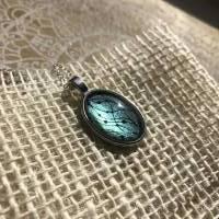 """Kette """"Perlengirlande"""", 25 x 18 mm Cabochonkette mit Motiv, grüngelb metallic, irisierend, handbemalt Bild 6"""