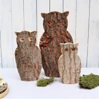 Eulen aus Holz 3er Set Herbstdeko, Winterdeko, Stückpreis 15 Euro Bild 1