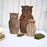 Eulen aus Holz 3er Set Herbstdeko, Winterdeko, Stückpreis 15 Euro Bild 2