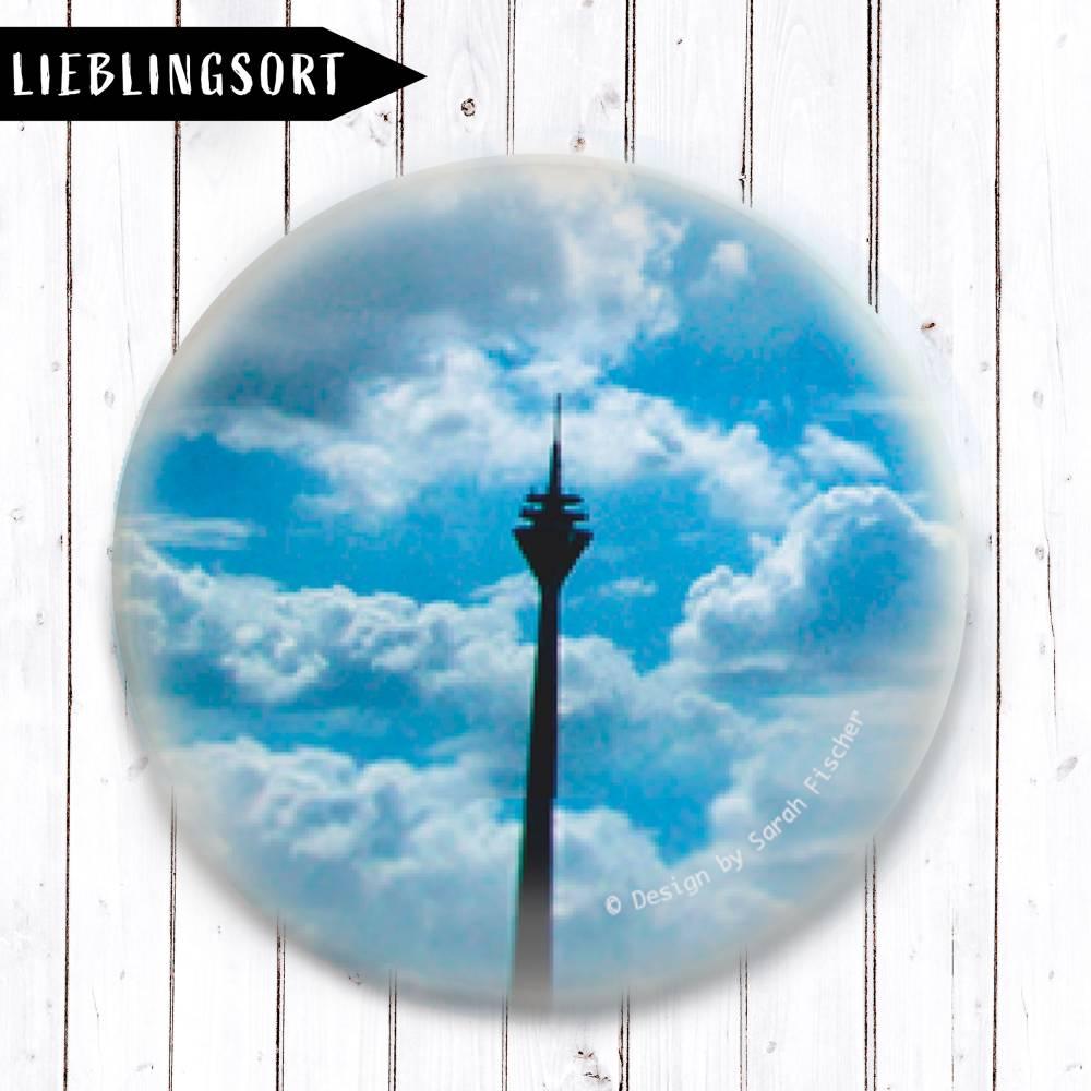 Rheinturm.Wolken.Blau Magnet Bild 1