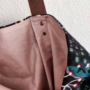 Große Einkaufstasche aus Canvas in floral gemustert mit Lederhenkel Bild 3