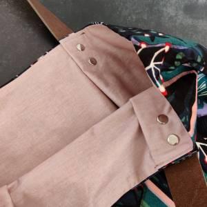 Große Einkaufstasche aus Canvas in floral gemustert mit Lederhenkel Bild 6