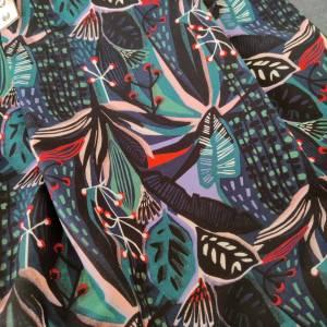 Große Einkaufstasche aus Canvas in floral gemustert mit Lederhenkel Bild 7