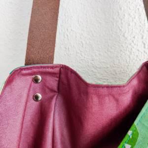 Große Einkaufstasche aus Canvas in grün mit Lederhenkel Bild 6