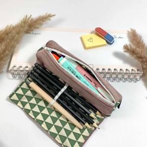 Stiftemäppchen altrosa für die Uni, kleines Federmäppchen fürs Studium/ Schule, Mäppchen Samt zum rollen mini für Studen Bild 1