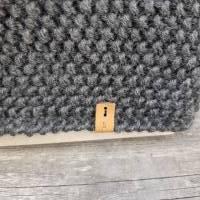 Stirnband mit Twist handgestrickt - Wolle (Merino) - anthrazit Bild 3