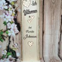 Herzlich Willkommen Schild Holz beleuchtet Geschenk Holzaufsteller Türschild Namensschild Holzstele personalisiert Bild 3