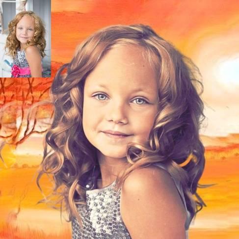 Personalisiertes Kinder Portrait von Deinem Foto Bild 1