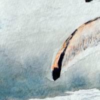 Mit Flossen durch den Schnee - Original Aquarellmalerei, gerahmtes Unikat Bild 5