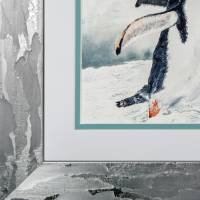 Mit Flossen durch den Schnee - Original Aquarellmalerei, gerahmtes Unikat Bild 6
