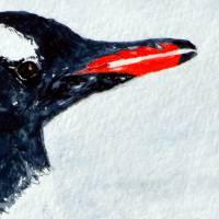 Mit Flossen durch den Schnee - Original Aquarellmalerei, gerahmtes Unikat Bild 7