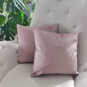 Samtkissen in rosa  Cord Optik Bild 2
