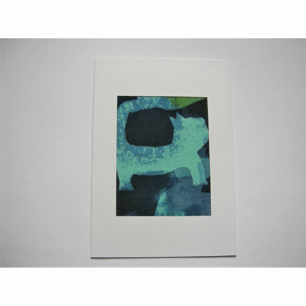 Karte Katze aus handcoloriertem Stoff blau Grußkarte Klappkarte Bild 1