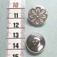 Besonders schöner Stil-Knopf aus silberfarbenem Metall, mit Blumenmuster Bild 1